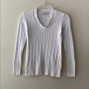 LOFT Ribbed V Neck White Sweater Size Petite Small